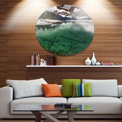 Design Art Crystal Clear Lake and Mountains ExtraLarge Landscape Metal Circle Wall Art