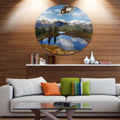 Design Art Lake with Pine Trees Reflecting Sky Extra Large Landscape Metal Circle Wall Art