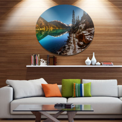 Design Art Blue Clear Lake with Mountains Extra Large Landscape Metal Circle Wall Art
