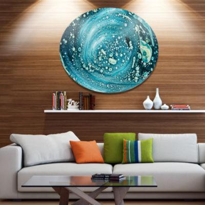 Design Art Precious Blue Fabulous Pattern Disc Abstract Metal Circle Wall Art