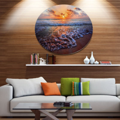 Design Art Roaring Sea Wavers during Sunset Seashore Metal Circle Wall Art
