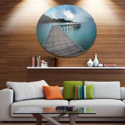 Design Art Wooden Bridge to Calm Ocean Disc MetalCircle Wall Art