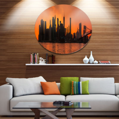 Design Art Silhouettes of Manhattan Panorama DiscExtra Large Metal Circle Wall Art