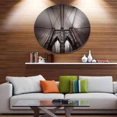 Design Art Brooklyn Bridge in NYC USA Disc Extra Large Metal Circle Wall Art