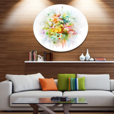 Design Art Yellow Watercolor Flowers Disc Floral Metal Circle Wall Art