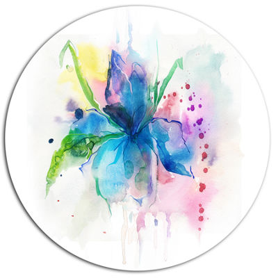 Design Art Iris Watercolor Illustration Art Disc Large Animal Metal Circle Wall Art