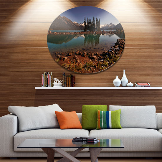 Design Art Lake and Pine Trees in Evening Extra Large Landscape Metal Circle Wall Art
