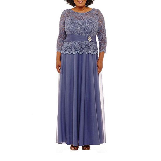Jackie Jon 3 4 Sleeve Embellished Evening Gown