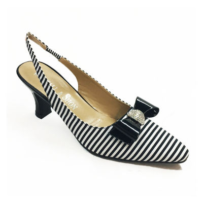 Whittall & Shon Womens Stripes Pointed Toe Cone Heel Pumps