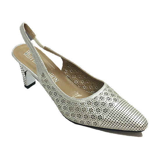 Whittall & Shon Womens Lattice Pointed Toe Cone Heel Pumps