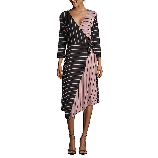 Spense 3/4 Sleeve Striped Wrap Dress
