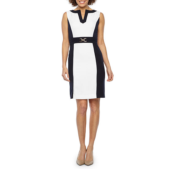 Chelsea Rose Sleeveless Color Block Sheath Dress