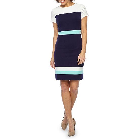 Alyx Short Sleeve Color Block Sheath Dress