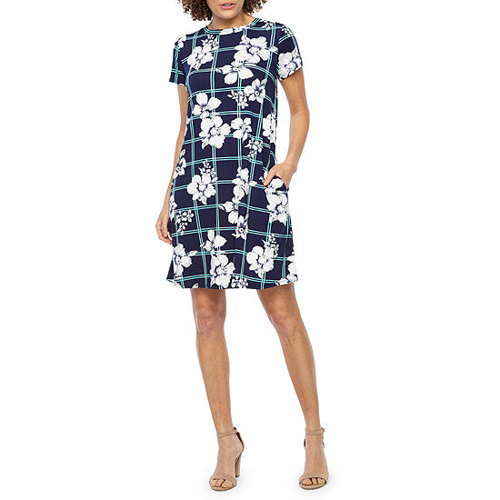 Alyx Short Sleeve Windowpane Floral Puff Print Shift Dress