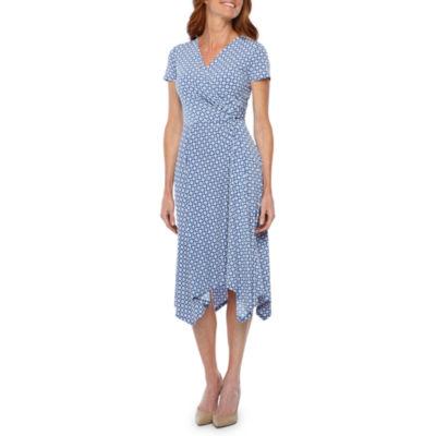 Perceptions Short Sleeve Geometric Puff Print Fit & Flare Dress