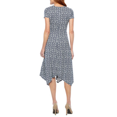 Perceptions Short Sleeve Dots Fit & Flare Dress