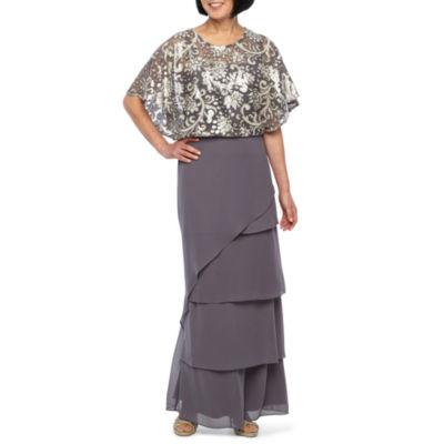 Maya Brooke Short Sleeve Sequin Blouson Evening Gown