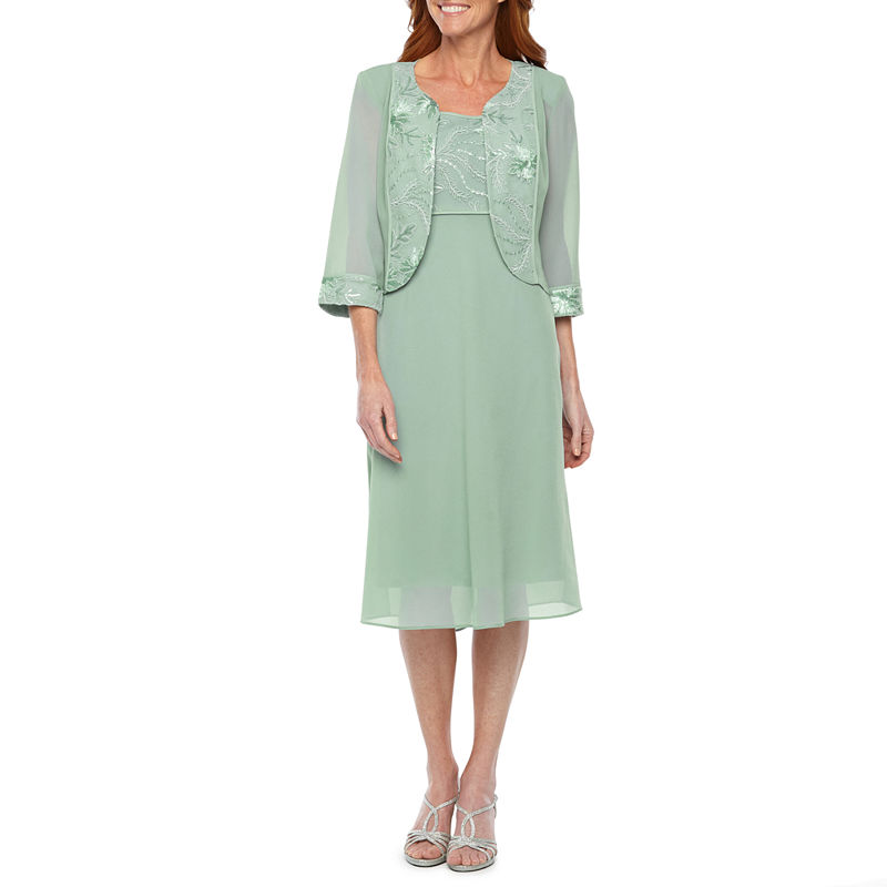 1930s Day Dresses, Afternoon Dresses History Maya Brooke 34 Sleeve Jacket Dress Womens Size 14 Green $90.00 AT vintagedancer.com