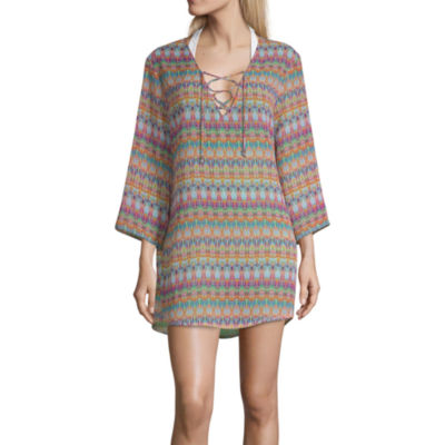 Porto Cruz Geometric Swimsuit Cover-Up Dress