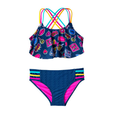 Limited Too Fun Emoji on Denim Bikini Set - Girls