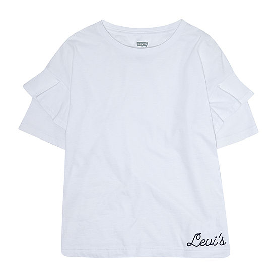 Levi's Ruffled Oversized Knit Top Girls Round Neck Short Sleeve T-Shirt-Preschool