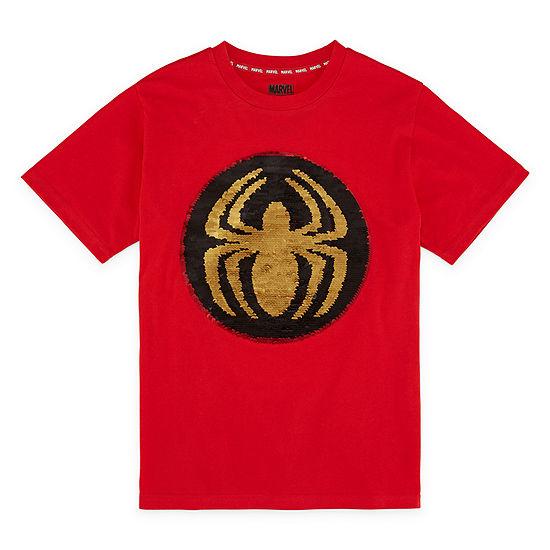 Flip Sequin Boys Crew Neck Short Sleeve Avengers Graphic T-Shirt - Preschool / Big Kid