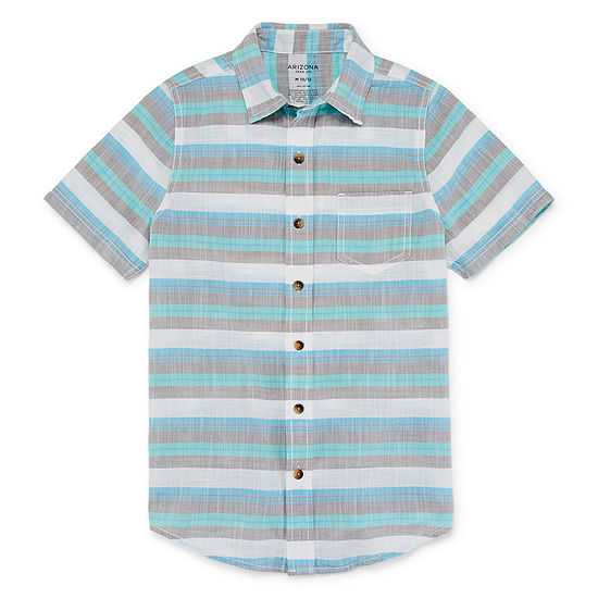 Arizona Boys Short Sleeve Button-Front Shirt Preschool / Big Kid