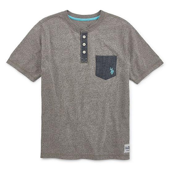 Us Polo Assn Boys Short Sleeve Embroidered Henley Shirt Preschool Big Kid Husky
