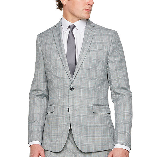 Jf Jferrar Gray Turquiose Check Checked Slim Fit Stretch Suit Jacket