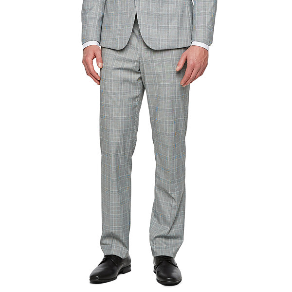 JF J.Ferrar Gray Turquiose Check Checked Slim Fit Stretch Suit Jacket