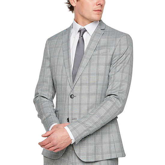 JF J.Ferrar Gray Turquiose Check Checked Super Slim Fit Stretch Suit Jacket