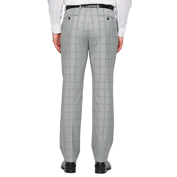 JF J.Ferrar Gray Turquoise Check Checked Slim Fit Suit Pants