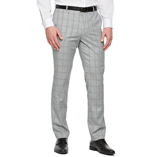 JF J.Ferrar Gray Turquoise Check Checked Super Slim Fit Suit Pants