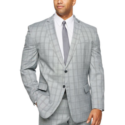 JF J.Ferrar Gray Turquoise Check Checked Classic Fit Stretch Suit Jacket-Big and Tall