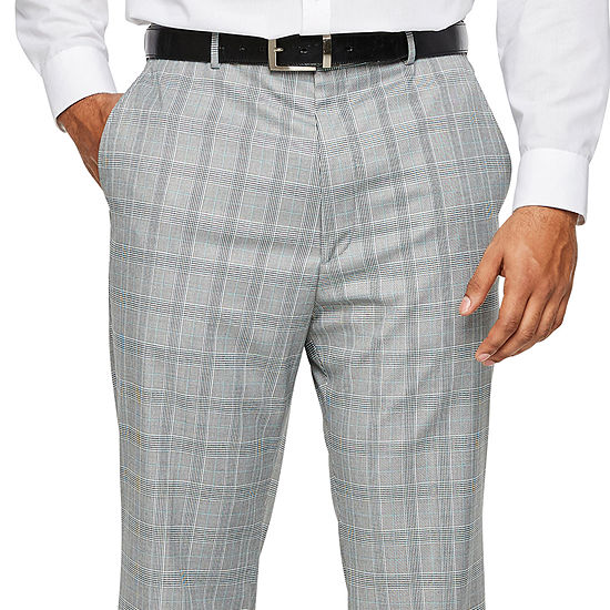 JF J.Ferrar - Big and Tall Checked Classic Fit Suit Pants