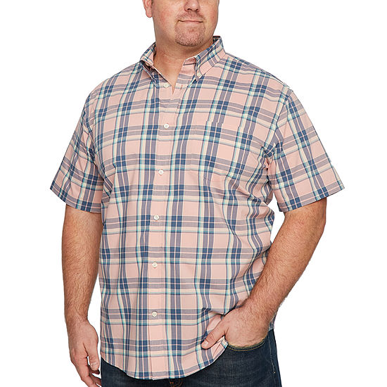 The Foundry Big Tall Supply Co Mens Short Sleeve Plaid Button Front Shirt Big And Tall