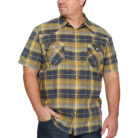 The Foundry Supply Co. Mens Short Sleeve Plaid Button-Front Shirt Big and Tall