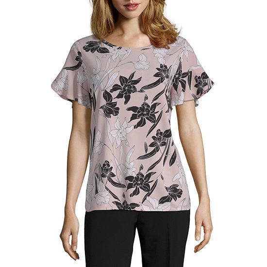 0ef28aeea Worthington-Womens Round Neck Short Sleeve T-Shirt Petite - JCPenney