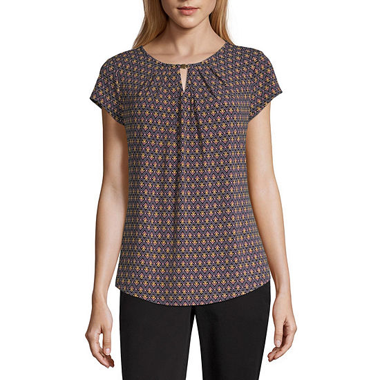 Liz Claiborne Womens Crew Neck Short Sleeve Blouse