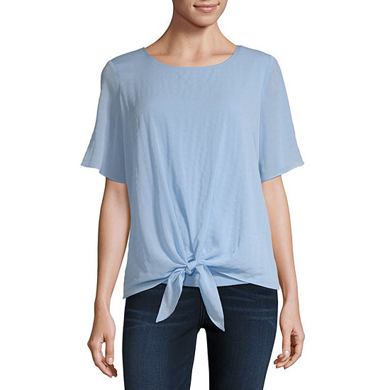 Alyx Womens Round Neck Short Sleeve Blouse