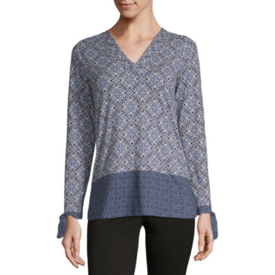 Como Blu Twin Print Womens V Neck Long Tie Sleeve Knit Blouse