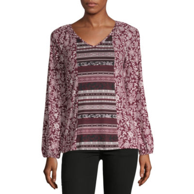 Como Blu Twin Print Womens V Neck Long Sleeve Peasant Top