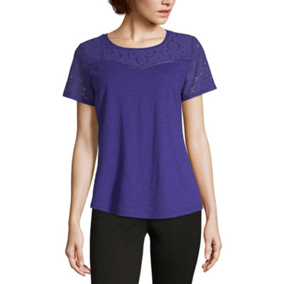 Liz Claiborne-Womens Round Neck Short Sleeve T-Shirt