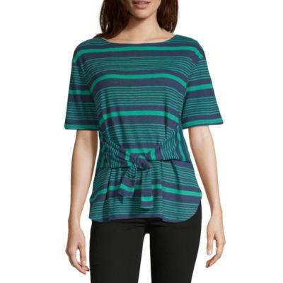 Liz Claiborne-Womens Boat Neck Short Sleeve T-Shirt