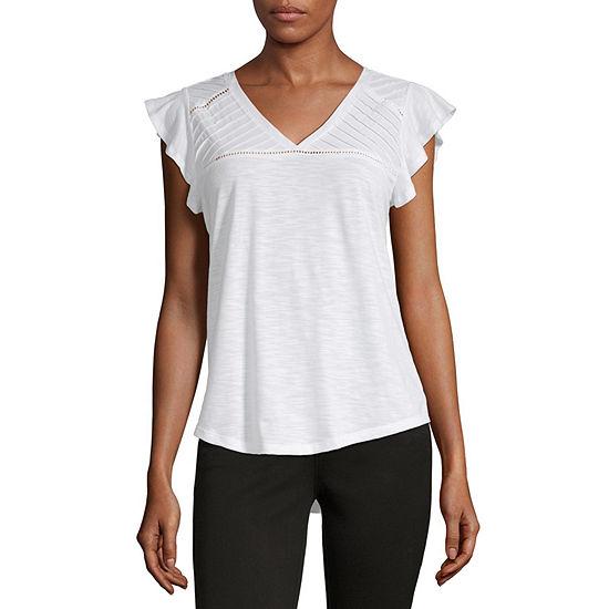 Liz Claiborne Womens V Neck Short Sleeve Knit Blouse