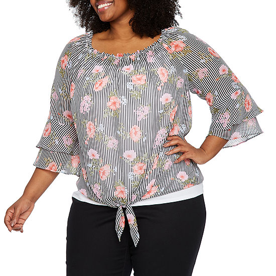 b8edc8f4011e49 Alyx 3 4 Bell Sleeve Tie Front Floral Blouse – Plus - JCPenney