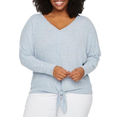 Alyx Womens V Neck Long Sleeve Knit Blouse-Plus