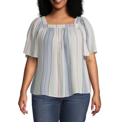 a.n.a Square Neck Short Sleeve Blouse - Plus