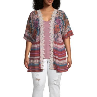 Truself 3/4 Sleeve Floral Kimono with Necklace - Plus