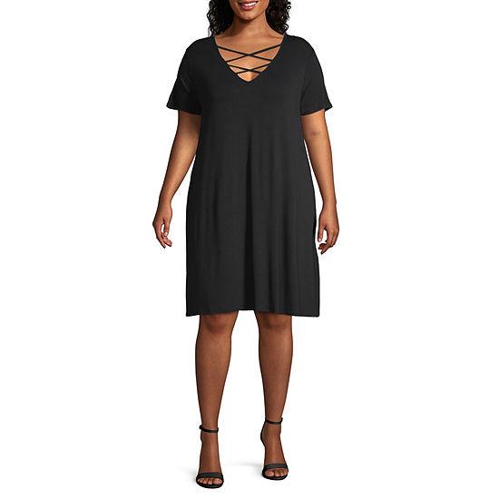 a.n.a Short Sleeve Cross Front Swing Dresses - Plus